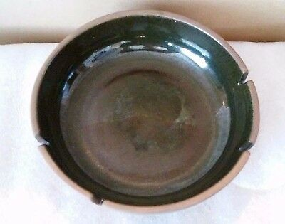Heath Ceramic Ribbed Brown/Green Speckled Mid Century-Modern ~ 1950's Ashtray