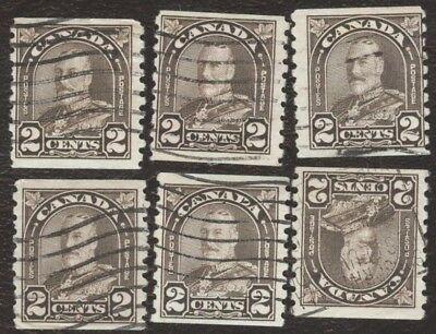 Stamps Canada # 182, 2¢, 1931, lot of 6 used coil Stamps.
