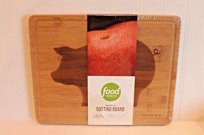 "Food Network Bamboo Wood Cutting Board with Large Pig in Center 11"" x 14"" NEW"