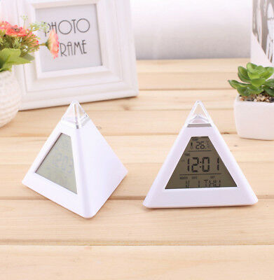 Changing Color LED Pyramid Triangle Digital LCD Alarm Desk Clock Thermometer