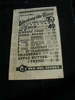 1949 red owl grocery store newspaper ad local sale prices rare paper clipping