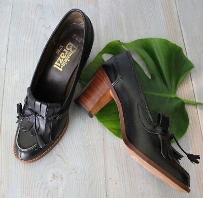 Vtg 70s Block Heel BLACK LEATHER Tasseled Oxfords Loafers Brazil 7.5 N