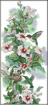 Morning Dew. Birds Flowers. 14CT counted cross stitch kit. Craft brand new.