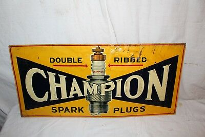 "Vintage 1930 Champion Spark Plugs Chevrolet Ford Gas Oil 30"" Embossed Metal Sign"