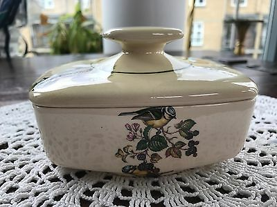 Vintage 1960's Butter Dish Bird Design by Brixham Pottery Devon England