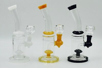 Hookah Water Pipe Bong Glass 10 inch clear glass with color shower top n base