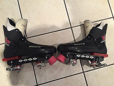 BAUER TURBO 2 ORIGINAL QUAD ROLLER SKATES - 90s- SIZE 7 IMMACULATE CONDITION