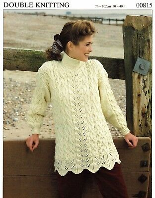 Ladies Cable and Lace Tunic Style Sweater, Vintage Knitting Pattern - PDF 155