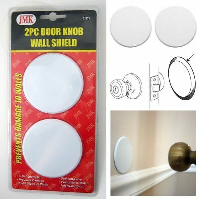 2Pc Door Knob Wall Shield Round White Self Adhesive Protector Prevents Holes NEW
