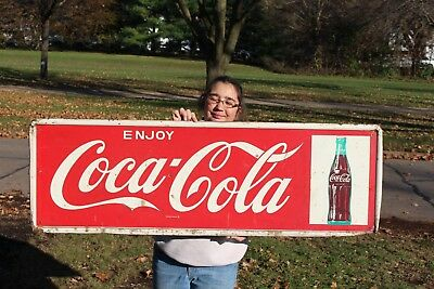 "Large Vintage 1950's Coca Cola Soda Pop Bottle Gas Station 54"" Metal Sign"
