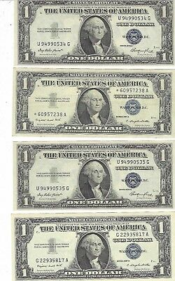Lot Of 9 $1 Blue Seal Silver Certificates Various Dates $9 Face Value