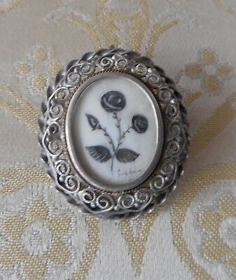 Antique Victorian Hand Painted Under Glass 800 Silver Filigree Pendant Brooch