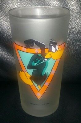 Rare Collectable Warner Bros Daffy Duck Frosted Glass Tumbler Good Condition