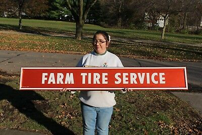 """Large Vintage 1960's Firestone Farm Tire Service Tractor Gas Oil 66"""" Metal Sign"""
