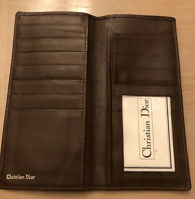CHRISTIAN DIOR Brown Men's soft Leather WALLET new authentic reg$125