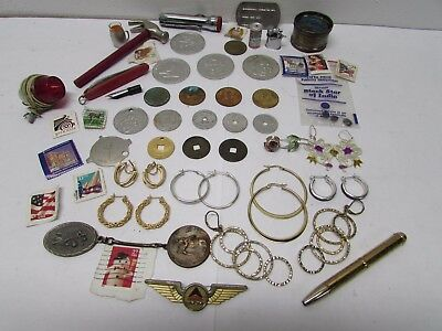 Vintage Junk Drawer Lot-TOKENS-Foreign COINS-JEWELRY-STAMPS-MEN STUFF?-NEAT LOT?