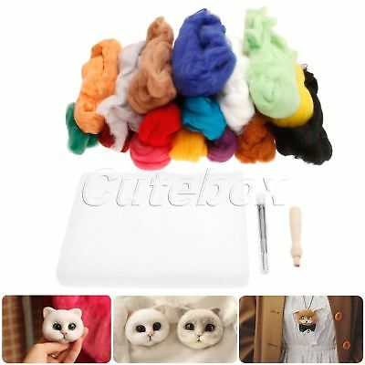 3 in 1 Set 16 Colours Wool & 9 Needles & Felting Handlle Fun to Play Good Gift