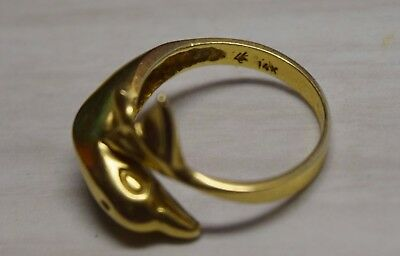 ESTATE JEWELRY 14K YELLOW GOLD DOLPHIN RING MARINE FISH 3.9 Grams