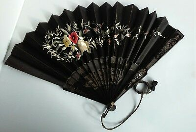 FINE ANTIQUE Oriental FILIGREE CARVED HAND EMBROIDERED SILK FAN FLOWERS