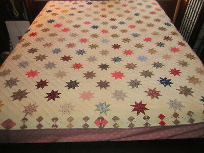 Antique 19c Exceptional Hand Sewn 68x78 STARS Cotton Quilt in Amazing Condition