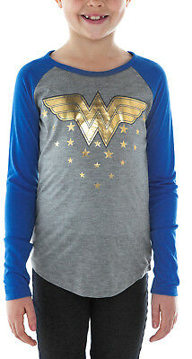 DC's Wonder Woman Girls Long Sleeve Graphic Shirt Gray Blue