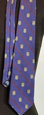 POLO by Ralph Lauren Boys Purple,Red Striped Yellow Crests Sheilds Silk Necktie