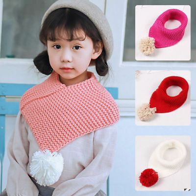 Warm Hat Winter Loop Scarf Baby Toddler Knitted Infinity Scarves with Pompom
