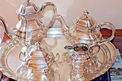 5 Pcs German Hallmarked 835 Sterling Silver Coffee & Tea Set & 800 Silver Tray