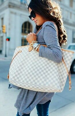 Authentic  Louis Vuitton Damier Azur Neverfull MM Tote Bag Purse Shoulder Bag LV