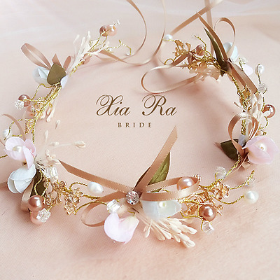 Pearl Flower Crown Festival Headband Wedding Garland Floral Hairband Accessories
