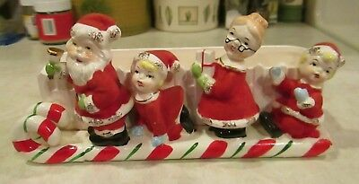 Napco Christmas candy cane sleigh planter Santa and Mrs Claus family holiday