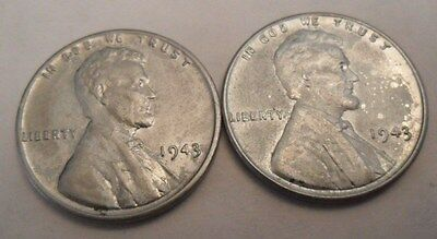1943 P Steel Wheat Cent / Penny Set  (2 Coins!)   **FREE SHIPPING**