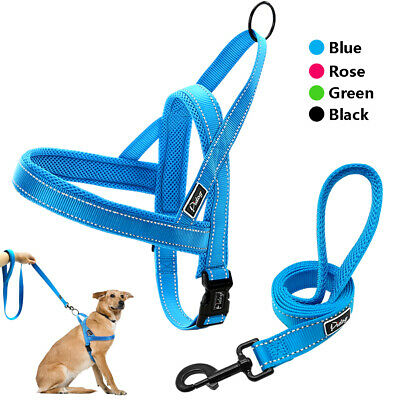 No Pull Reflective Stitching Dog Harness Vest With Two Handle Dog Walking Leash