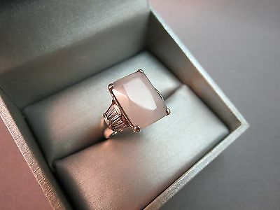 Sterling Silver Ring Opaque Stone Baguette Accents Size 6 Emerald Cut 6.2 Grams