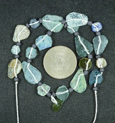 Ancient Roman Glass Beads 1 Medium Strand Aqua And Green 100 -200 Bc 708