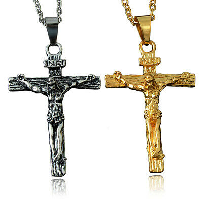 Fashion Unisex Men's Gold Plated Cross Pendant Sweater Chain Necklace Jewelry