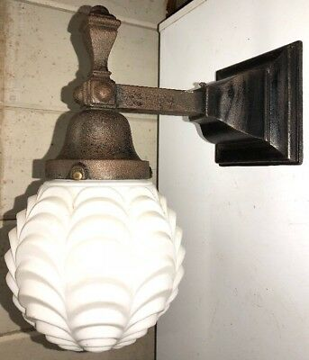 Antique Ornate Victorian Cast Iron Porch Wall Sconce Exterior Light Fixture