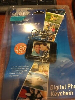 "Coby Black LCD DP-161 1.5"" Digital Photo Picture Keychain up to 120 Photos NEW"