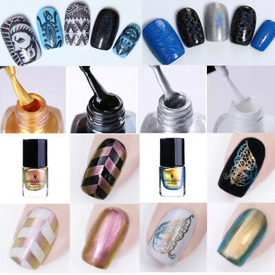 6ml Born Pretty Holographic Thermal Chameleon Nail Stamping Polish Silver Decors