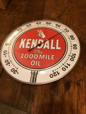 Kendall Oil Can Thermometer Gas Pump Station Sign Lubester Gulf Grease Farm