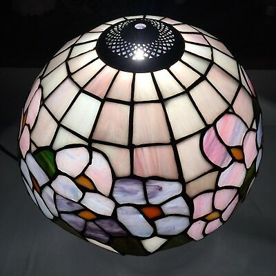 Vintage Tiffany Style Lampshade / Floral Flower Design Leaded Stained Glass 12""