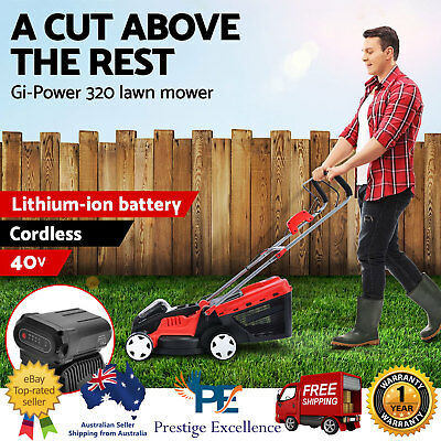 40V Cordless Lawn Mower Electric Lawnmower Lithium Battery Powered 700W Gi-Power