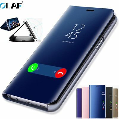 Smart View Mirror Leather Flip Stand Case Cover For Samsung Galaxy S8/9/10 Plus