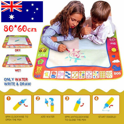 New Toddler Kids Magic Aquadoodle Mat/Pen Aqua draw Water Drawing/Toy 80X60cm AU