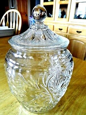 Clear Glass Cookie or Treat Jar Sun Flower Vines Pedals Ball Top