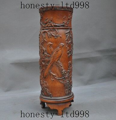 China Antique bamboo wood hand Carved flowers bird statue Brush Pot pencil vase