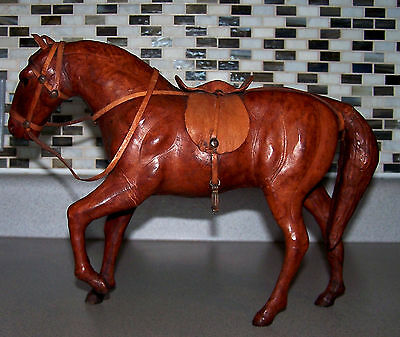 """Vintage Leather Wrapped 10"""" Horse Figure / Sculpture / Statue Chestnut Brown Guc"""