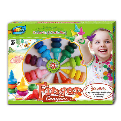 30 Finger Crayons Box Set Build Functional Finger Grasps & Fine Motor Skills Kid