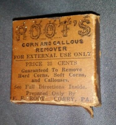 Antique, Extremely Rare Roots Quack Medicine, Medical, Feet Corn & Callous  Rare
