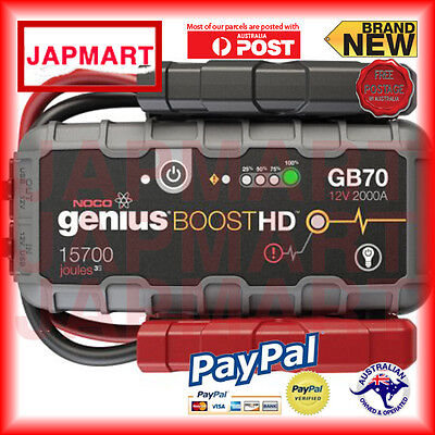 NOCO Genius GB70 12V 2000 Amp Lithium Battery Booster Jumper Leads FREE POST